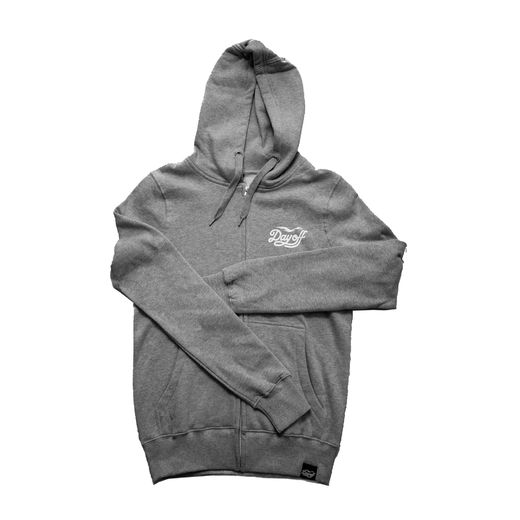 Day Off Classic Small Logo Zip Hoodie Grey/White
