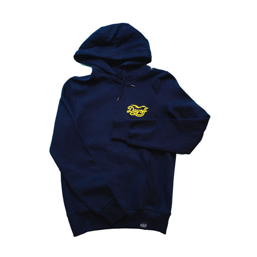 Day Off Classic small logo hoodie navy/yellow, Unisex